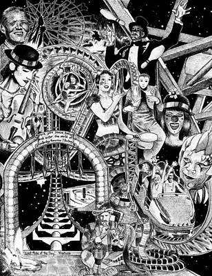Roller Coaster Drawing - Last Ride Of The Day by Ashley Dennison