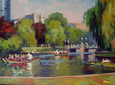 Boston Public Garden Painting - Last Ride Of The Day by Dianne Panarelli Miller