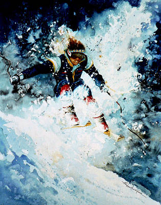 Skiing Action Painting - Last Run by Hanne Lore Koehler
