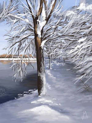 Landscape Digital Painting - Last Snow Series N2 by Veronica Minozzi