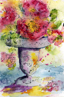 Last Summer's Roses Watercolor By Ginette Art Print