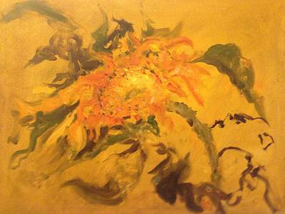 Painting - Last Sunflower by Karen Carmean