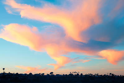 Fiery Sunset And Lenticular Cirrus Clouds - Newport Beach Backbay California Art Print by Ram Vasudev