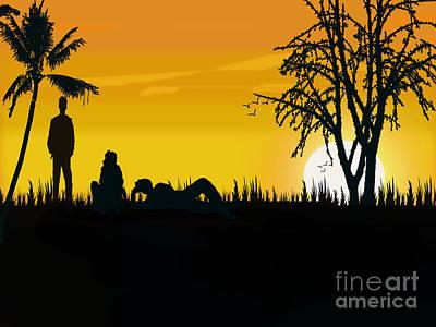 Last Sunset With My Friend Of My Collage Days Art Print by Artist Nandika  Dutt