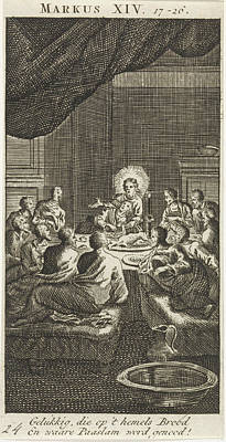 3.14 Drawing - Last Supper, Jan Luyken, Anonymous by Jan Luyken And Anonymous