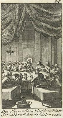 Matthew 26 Drawing - Last Supper, Jan Luyken, Jurriaen Van Poolsum by Jan Luyken And Jurriaen Van Poolsum