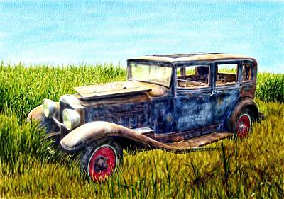 Last Tour For An Old Ford Touring Car Art Print by Ric Darrell