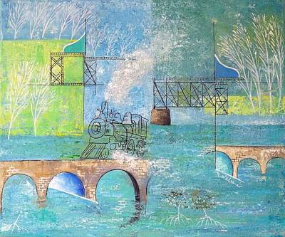 Mangrove Forest Painting - Last Train To Paradise #2 by Natalie L