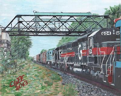 Trussed Painting - Last Train Under The Bridge by Cliff Wilson