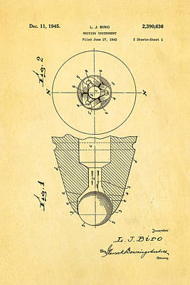Laszlo Biro Ballpoint Pen Patent Art 1945 Print by Ian Monk