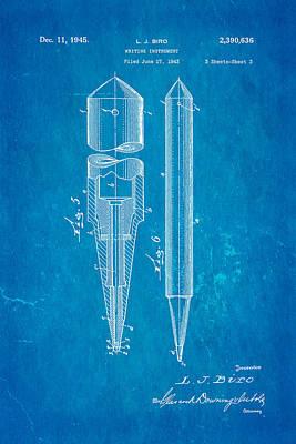 Laszlo Biro Ballpoint Pen Patent Art 2 1945 Blueprint Print by Ian Monk