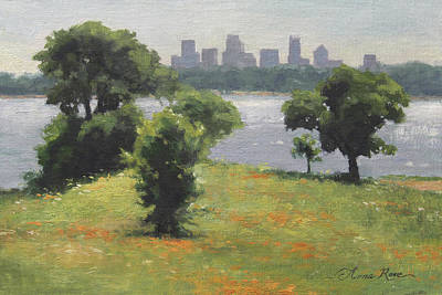 Dallas Skyline Wall Art - Painting - Late Afternoon At Winfrey Point by Anna Rose Bain