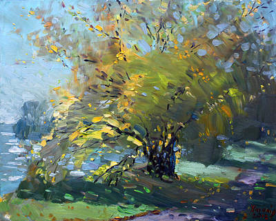 Fall Colors Painting - Late Afternoon By The River by Ylli Haruni