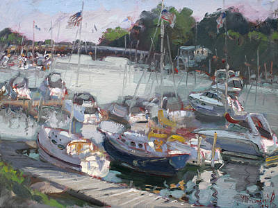Yacht Painting - Late Afternoon By Tonawanda Harbor by Ylli Haruni