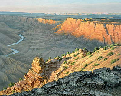 Southwest Desert Painting - Late Afternoon-desert View by Paul Krapf