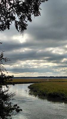 Late Afternoon Marsh Under Clouds Art Print