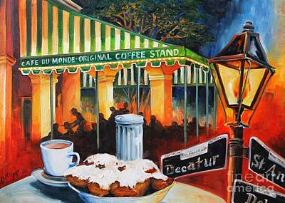 Coffee Painting - Late At Cafe Du Monde by Diane Millsap