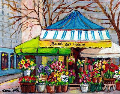 Montreal Storefronts Painting - Late Autumn Flower Shop Downtown Outdoor Vendor Marche Aux Fleurs Montreal Art Street Scene Painting by Carole Spandau