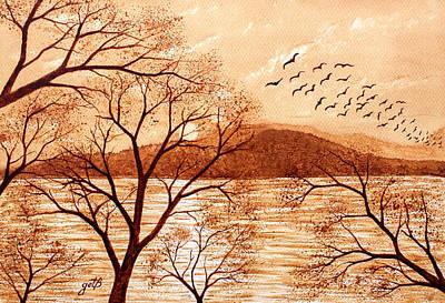 Late Autumn Sunset Original Coffee Painting Original by Georgeta Blanaru