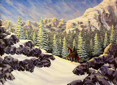 Mountain Man Painting - Late Crossing by Jack Malloch