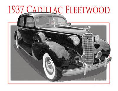 Spare Tire Digital Art - Late Depression-era Cadillac Fleetwood by Dan Knowler