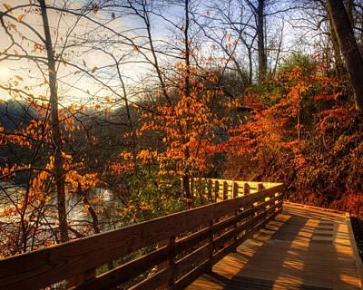 Fog Photograph - Late Fall On River Walk by Greg Mimbs