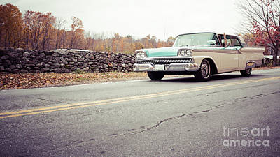 Photograph - Late Model Vintage Two Tone Car On The Road by Edward Fielding