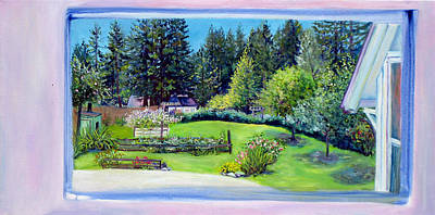 Art Print featuring the painting Late Spring Yard With Redwoods And Apple Trees by Asha Carolyn Young