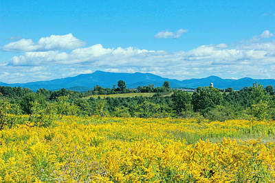 Late Summer View Of Mount Mansfield Vermont Art Print by William Alexander