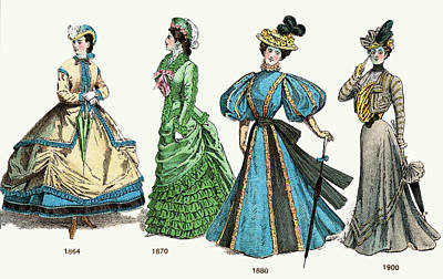 1880s Painting - Late Victorian Ladies Fashion 19th by Vintage Images