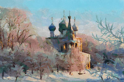 Digital Art - Late Winter Church by Yury Malkov