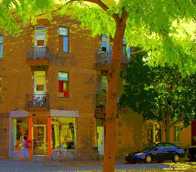 L'atelier Boutique Rue Clark And Fairmount Art Of Montreal Street Scene In Summer By Carole Spandau  Art Print by Carole Spandau
