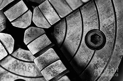Photograph - Lathe Chuck Black And White by Wilma  Birdwell