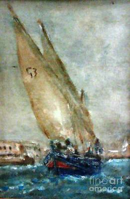 Painting - Latini Boat Entering Grand Harbour Valletta  by Marco Macelli