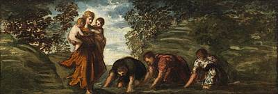 Change Painting - Latona Changing The Lycian Peasants Into Frogs by Tintoretto