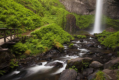 Path Photograph - Latourell Falls And Rapids by Andrew Soundarajan