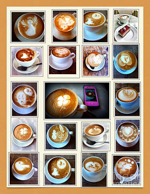 Photograph - Latte Art Collage by Susan Garren