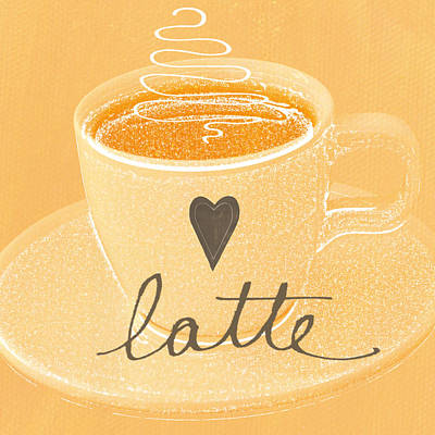 Kitchen Painting - Latte Love In Orange And White by Linda Woods