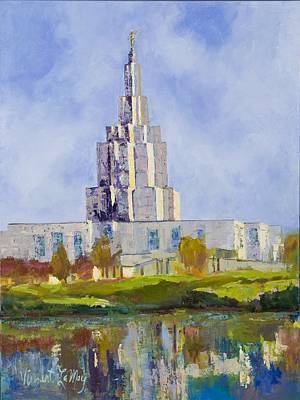Latter Day Saints Mormon Temple Idaho Falls Idaho Original by Nancy LaMay