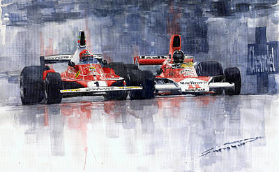 Watercolor Sports Painting - Lauda Vs Hunt Brazilian Gp 1976 by Yuriy Shevchuk