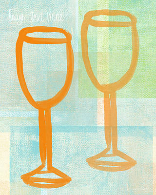 Food And Beverage Royalty-Free and Rights-Managed Images - Laugh and Wine by Linda Woods