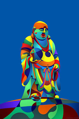 Digital Art - Laughing Buddha Blue by Randall Henrie