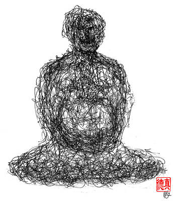 Chi Drawing - Laughing Buddha by Peter Cutler