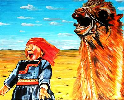 Laughing Girl With Camel Original by Khanda Lewis