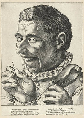 Laughing Jester With Needle And Thread, Hendrick Goltzius Art Print by Hendrick Goltzius