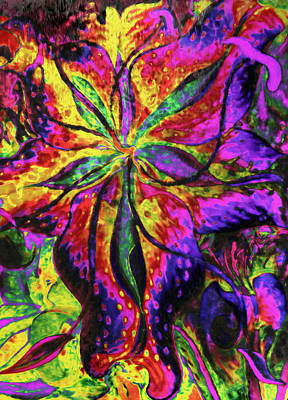 Lilies Mixed Media - Laughing Lily Abstract Expressionism by Georgiana Romanovna