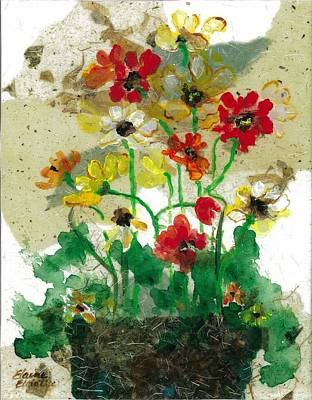 Art Print featuring the painting Laughing Poppies by Elaine Elliott