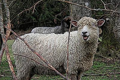 Cattle Dog Digital Art - Laughing Ram by Jen  Brooks Art