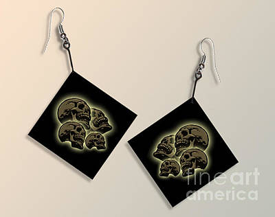 Laughing Skull Paper Earrings Original