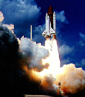 Flock Photograph - Launch Of Galileo On Sts-34 Atlantis by Celestial Images